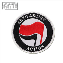 Round Embroidered Patches Cartoon Embroidery Patch for Coats Antifascist Action