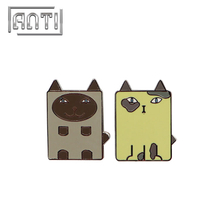 Cartoon Rectangle Animal Badge Enamel Lapel Pins Cat Badge