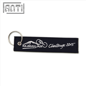 Custom Black Coloring Eyelet Overlock Embroidery Jacquard Woven Keychain