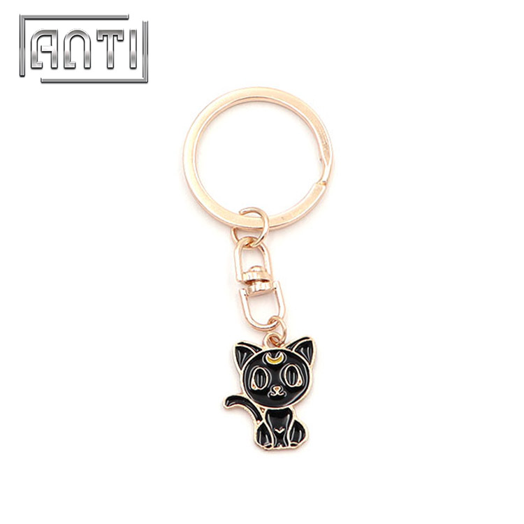 Custom Sailor Moon Cat Keychain Gold Plated Keychain with Ring