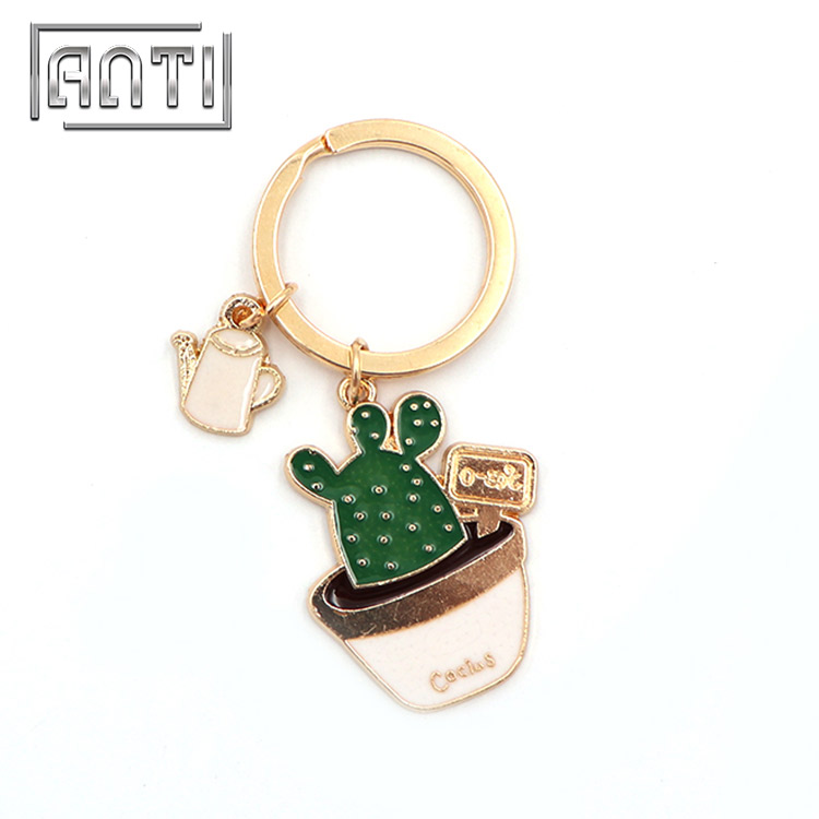 Promotional Plant Keychain Gold Plated Cute Cactus Keychain with Ring