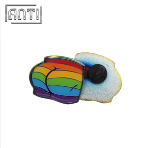 Custom Funny Rainbow Metal Pin Badge Rubber Backing Clutch