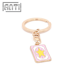 Promotional Sailor Moon Keychain Gold Plated enamel Keychain with Ring