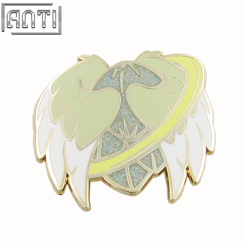 Quality College Design Style Cartoon pretty yellow angel wing glitter hard enamel zinc alloy Lapel Pin