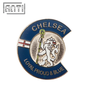 blue roundness lion hard enamel metal badge