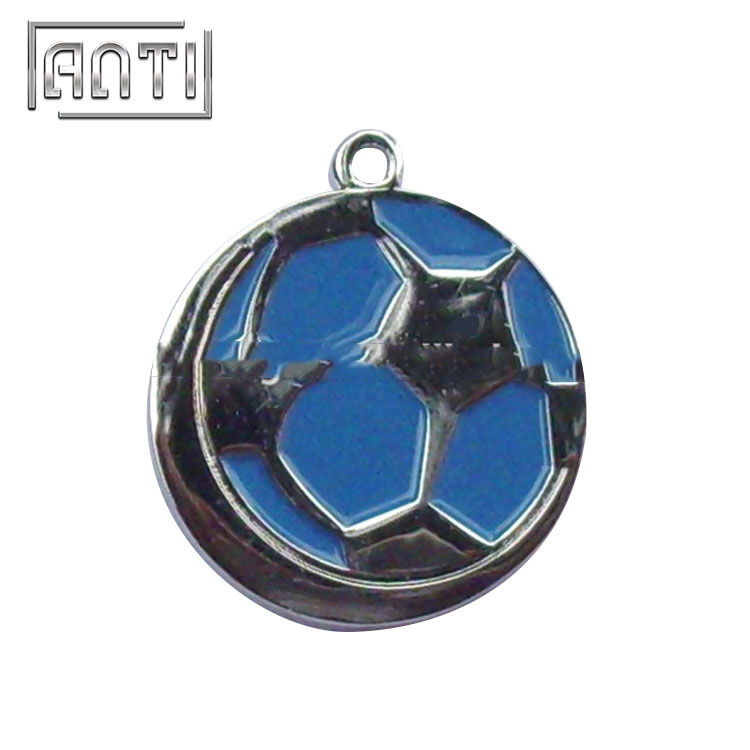 blue and black football soft enamel metal badge