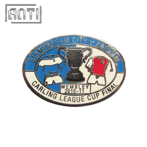 blue and white sports zinc alloy badge