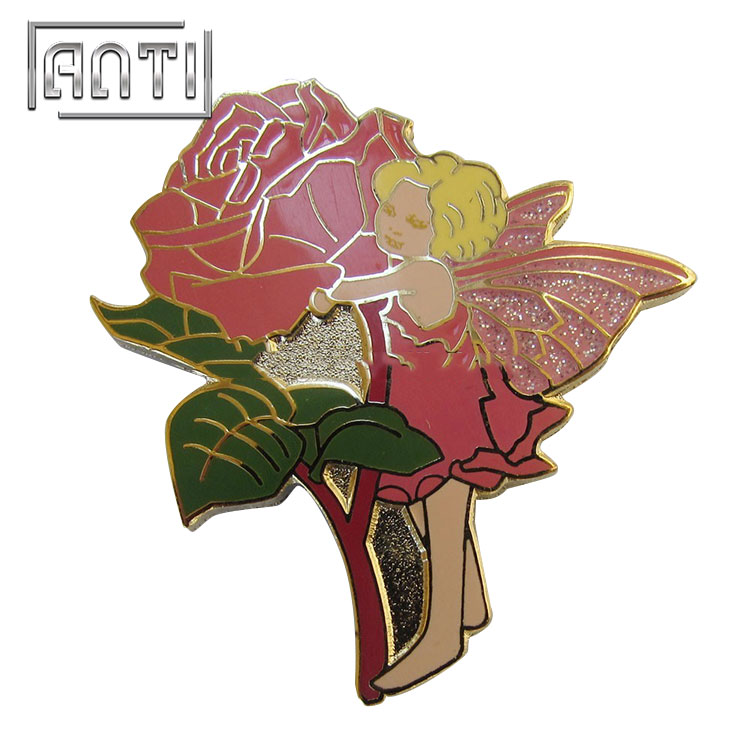 rose fairy zinc alloy hard enamel metal badge