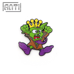 green funny goblin soft enamel metal badge