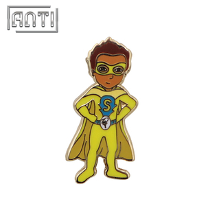 Yellow superman enameldyed design wholesale pins