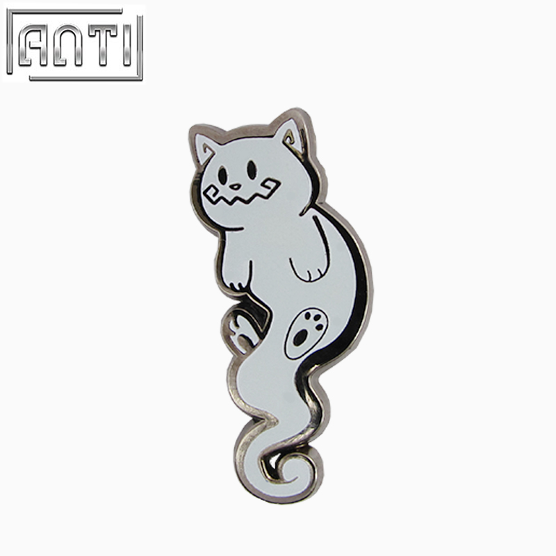 Custom Your Own Fashionable Design Various Shapes Cute Gray Kitty Hard Enamel Badge
