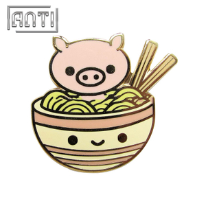 pig and noodles zinc alloy hard enamel pins