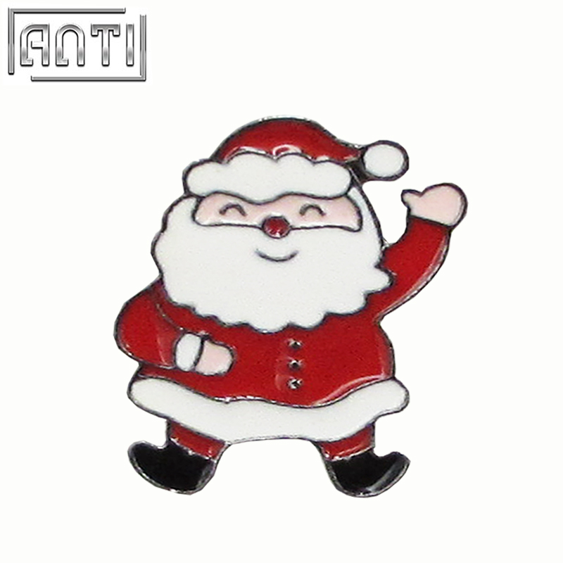 Custom Hard Enamel Pin Manufacturer Cute Red Santa Claus Cartoon Figure Badge