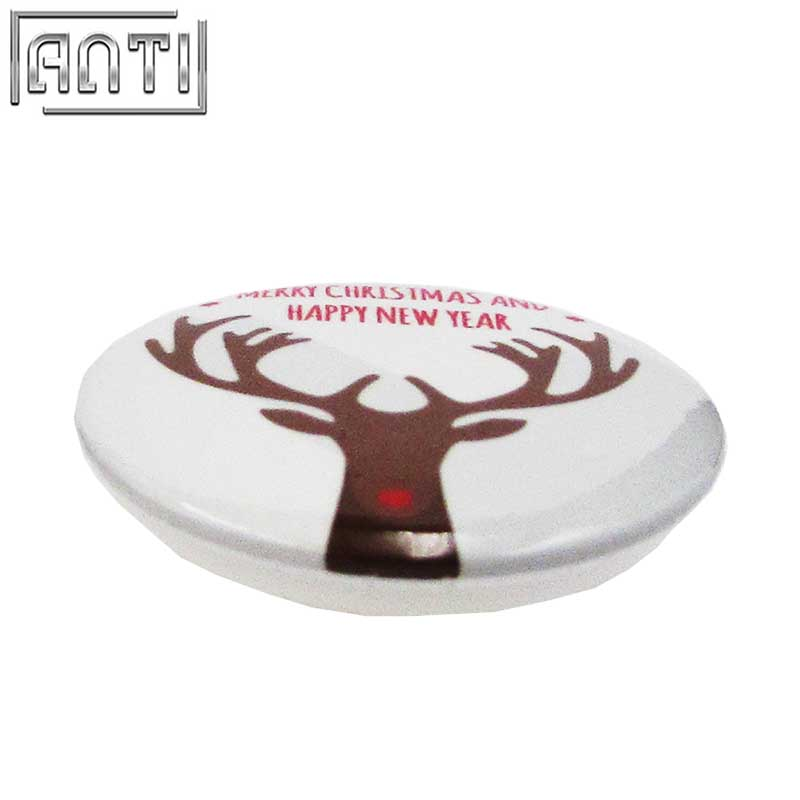 Hot Sale Manufacturer Custom Your Own High Quality Design Round Christmas Elk Offset Print Pin