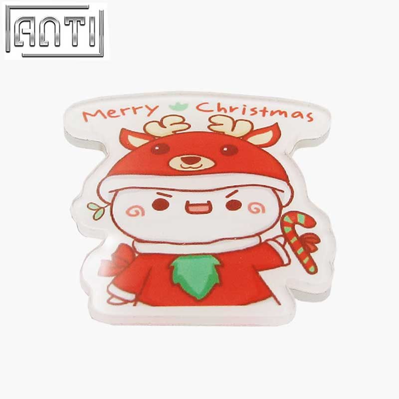Hot Sale Manufacturer Factory Direct Red And White Cut Christmas Cartoon Shape Acrylic Offset Print Lapel Pin