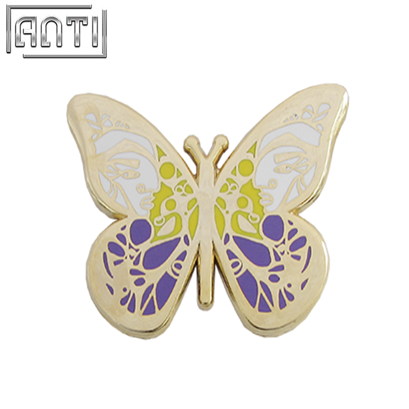 Custom Design High Quality Purple And White Golden Butterfly Hard Enamel Zinc Alloy Badge