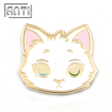 Mew white cat zinc alloy hard enamel pin