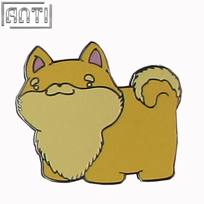Wholesale manufacturer yellow cartoon shape cute small dog black nickel hard enamel lapel pin