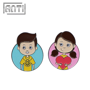 blue boy and pink girl love metal badge