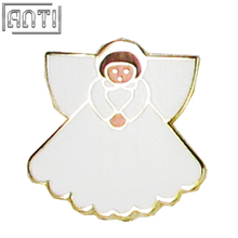 Wholesale manufacturer beautiful white angel girl hard enamel zinc alloy lapel pin