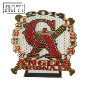 orange and red baseball soft enamel metal badge